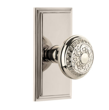 Grandeur Windsor Door Knob Set with Carre Short Plate Polished Brass