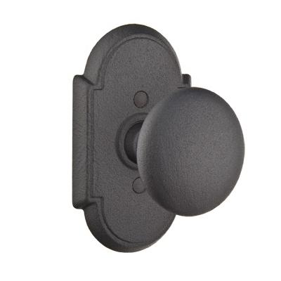Emtek Jamestown Door Knob Set with #1 Rosette Flat Black