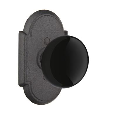 Emtek Madison Black Door Knob set with #1Rose Flat Black (FB)
