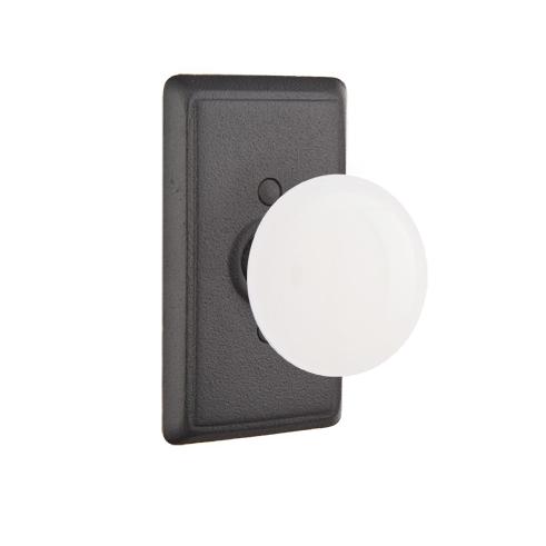 Emtek Madison Ivory Door Knob Set with #3 Rose Flat Black (FB)