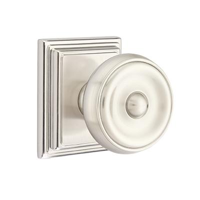 Emtek Waverly Door Knob with Wilshire Rose Satin Nickel (US15)