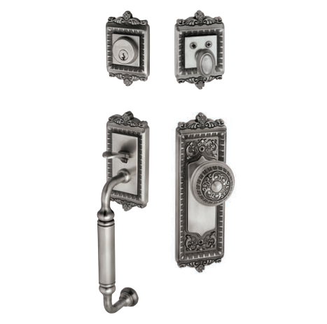 Grandeur Windsor Handleset shown with Windsor Knob in Antique Pewter (AP)
