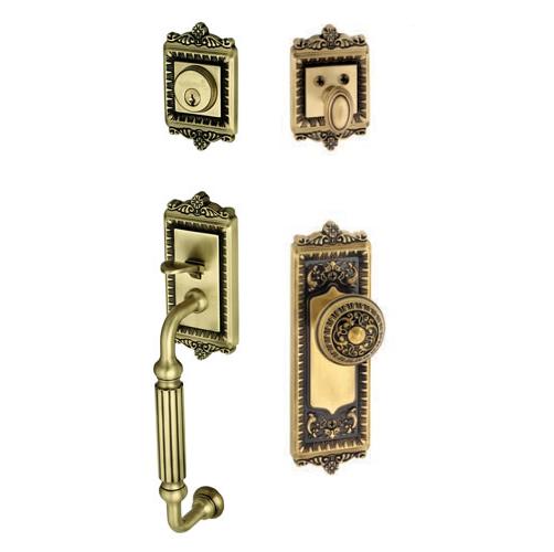 Grandeur Windsor Handleset with F grip shown with Windsor Knob in Antique Brass