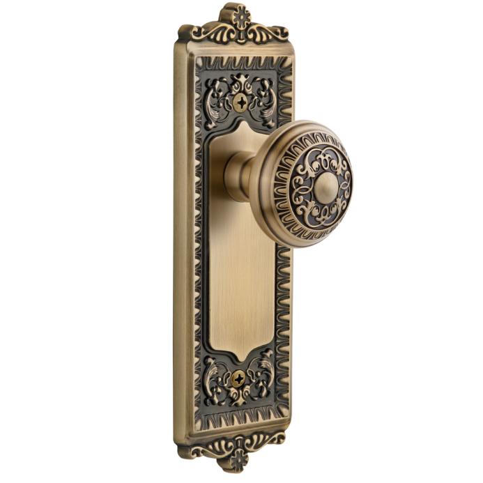 Granduer Windsor Backplate with Windsor knob Vintage Brass