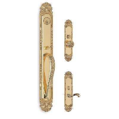 Omnia Amagansett Entrance Handleset Polished Brass (US3)