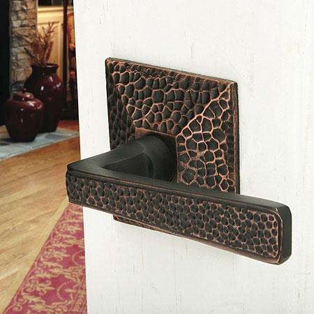 Emtek Hammered Door Lever Set with Hammered Rosette Oil Rubbed Bronze (US10B)