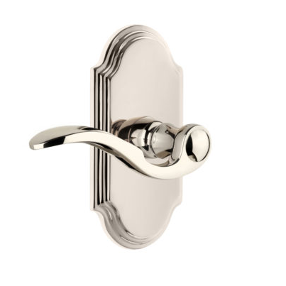 Grandeur Bellagio Lever with Arc Short Plate Polished Nickel
