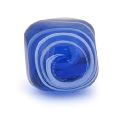 PotteryVille White Swirl on a Dark Blue Glass Knob