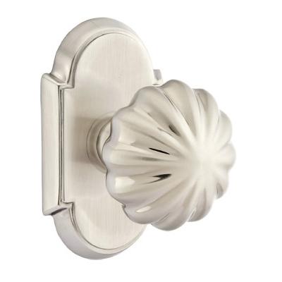 Emtek Melon Door knob with #8 Rose Satin Nickel (US15)