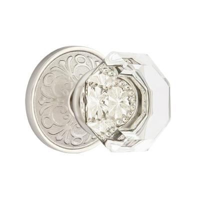 Emtek Old Town Clear knob with Lancaster Rose Satin Nickel (US15)