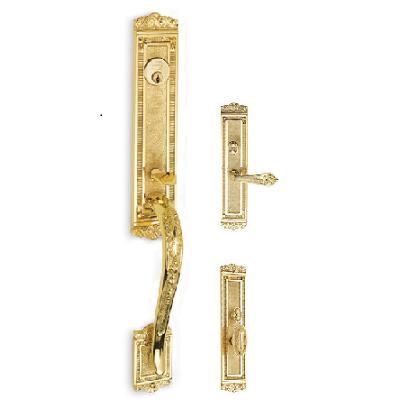 Omnia Bridgehampton Entrance Handleset Polished Brass (US3)