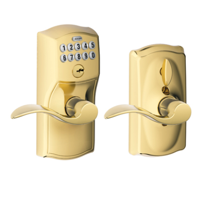 Schlage FE59CAM505ACC Camelot Keypad Flex Lock w/Accent lev Lifetime Brass (505)
