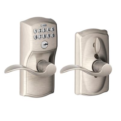 Schlage FE59CAM619ACC Camelot Keypad Flex Lock w/Accent lever satin Nickel (619)