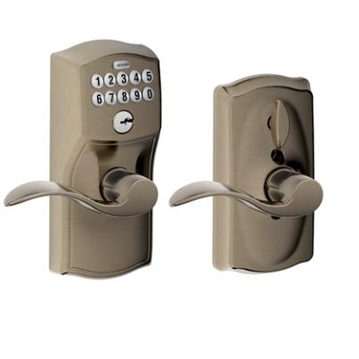 Schlage FE59CAM620ACC Camelot Keypad Flex Lock w/Accent leveAntique Pewter (620)