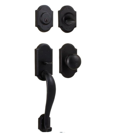 Weslock Castletown Handleset with Wexford Knob Black