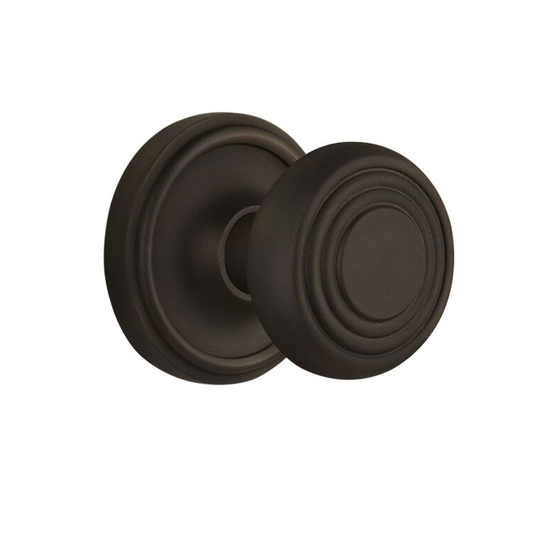 Nostalgic Warehouse CLADEC Deco Knob Set with Classic Rose Oil Rubbed Bronze