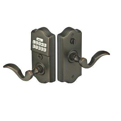 Emtek Keypad Brass Leverset w/ Cortina Lever Oil Rubbed Bronze (US10B)