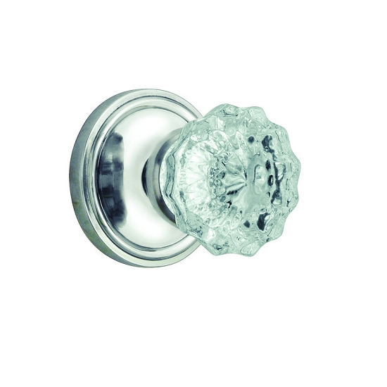 Nostalgic Warehouse Crystal Knob Privacy Mortise with Classic Rose Bright Chrome