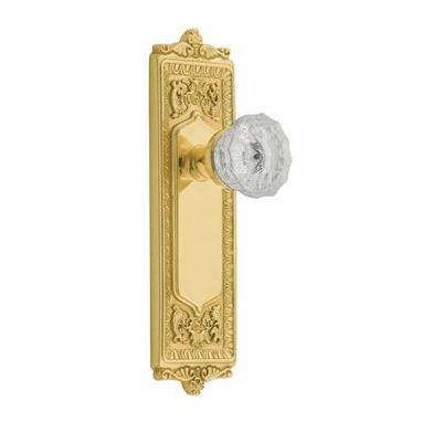 Nostalgic Warehouse Egg & Dart Backplate with Crystal Knob Polished Brass