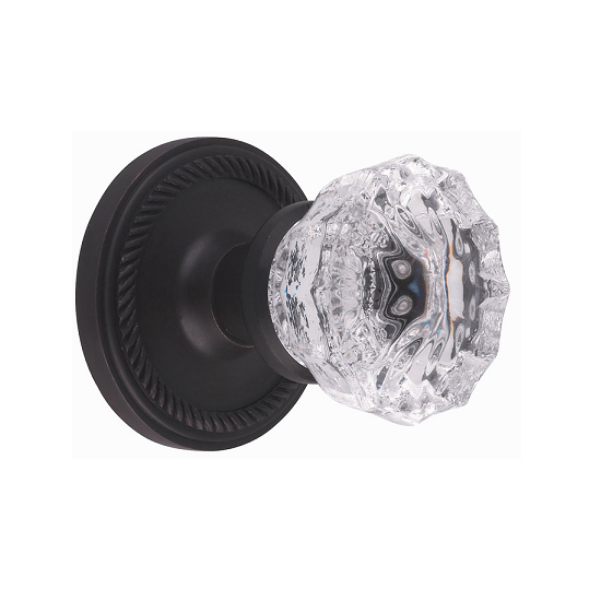 Nostalgic Warehouse Crystal Knob Privacy Mortise with Rope Rose Oil Rubbed Bronz