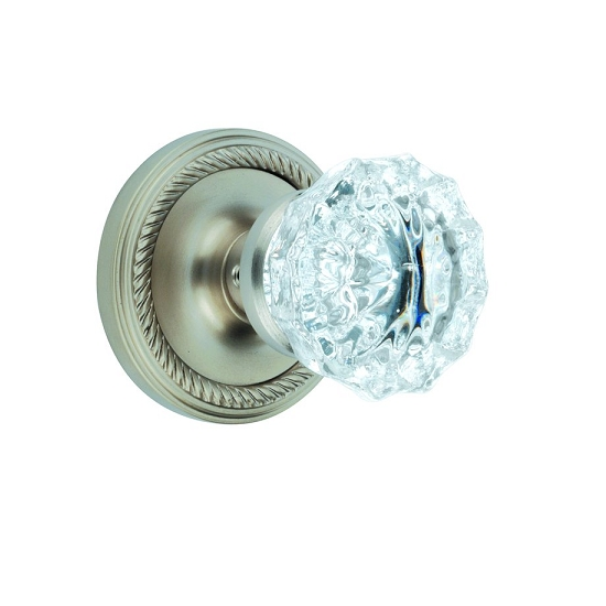 Nostalgic Warehouse Crystal Knob Privacy Mortise with Rope Rose Satin Nickel