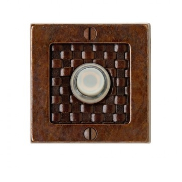 Rocky Mountain Round Designer Leather Door Bell Silicone Bronze Rust with Brown