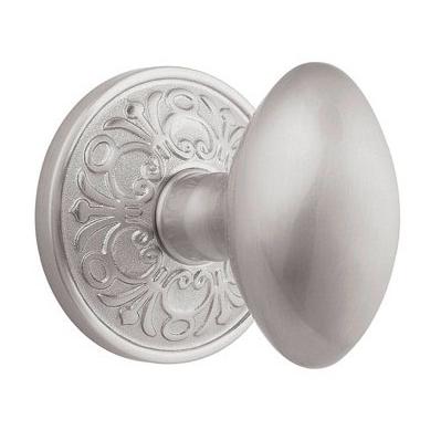 Emtek Egg Door knob with Lancaster rose Satin Nickel (15)