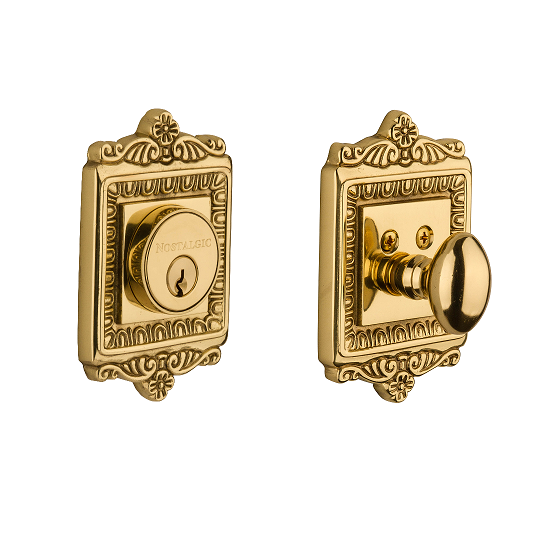 Egg & Dart Single Cylinder Deadbolt Polished Brass (PB)