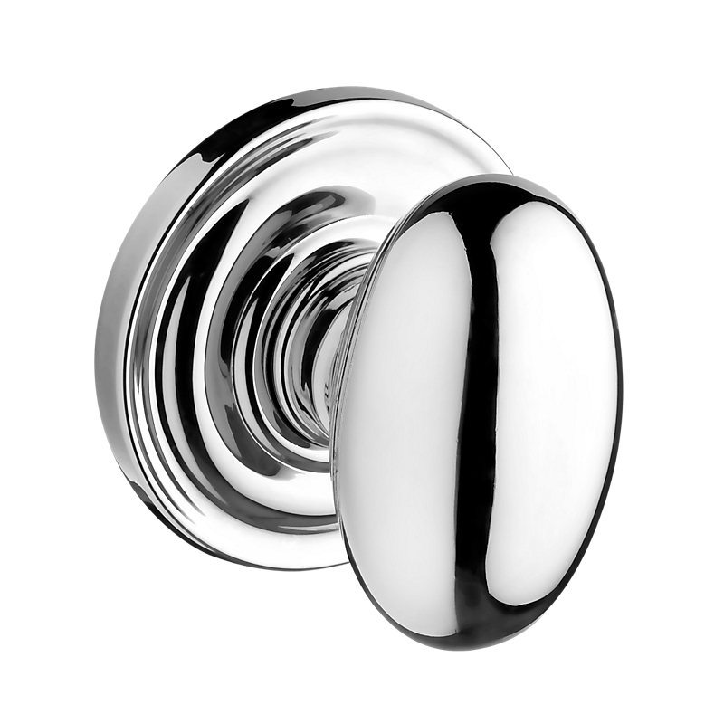 Baldwin Reserve Ellipse Knob with round rose (TRR) shown in Polished Chrome (260