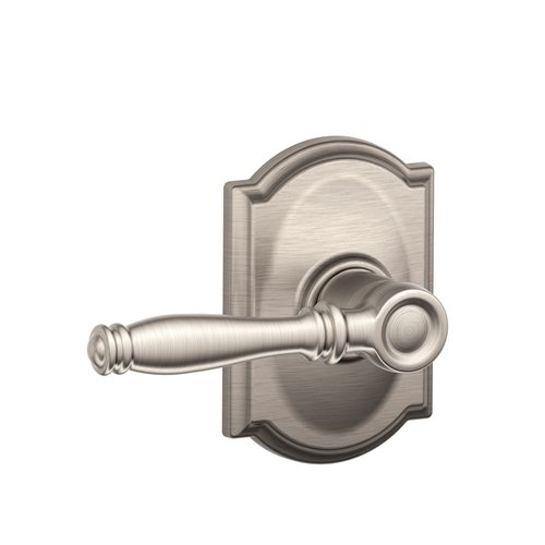 Schlage Birmingham Lever with Camelot Decorative Rose in Satin Nickel (619)