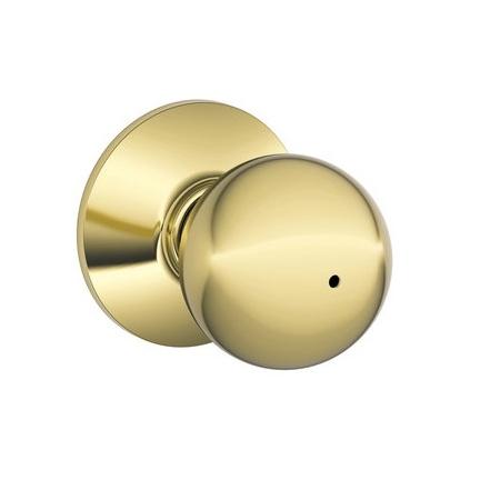 Schlage F40 Orb Privacy Polished Brass 605
