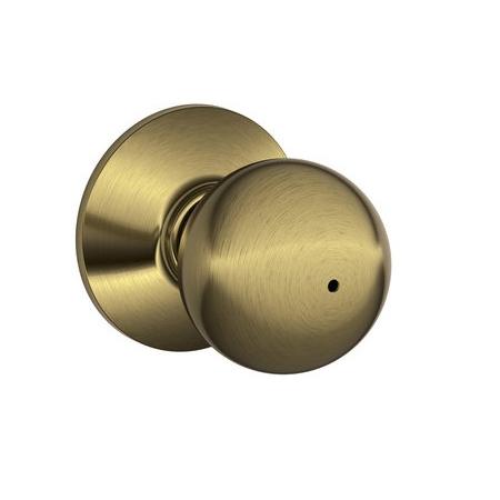 Schlage F40 Orb Privacy Antique Brass 609