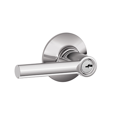 Schlage F51-BRW-625 Broadway Keyed Entry Door Lever Set Polished Chrome