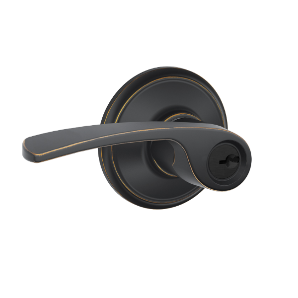 Schlage F51A-MER F-Series Merano Keyed Entry Door Lever Set | Low ...