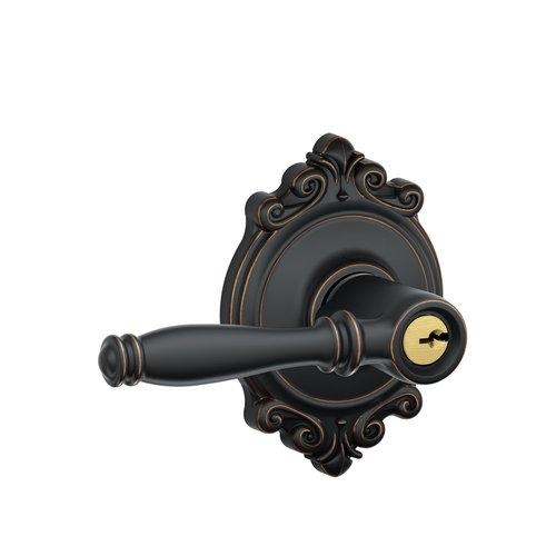 Schlage Birmingham Lever With Brookshire Decorative Rose Aged Bronze.  Schlage Birmingham Lever With Brookshire Decorative Rose Satin Nickel