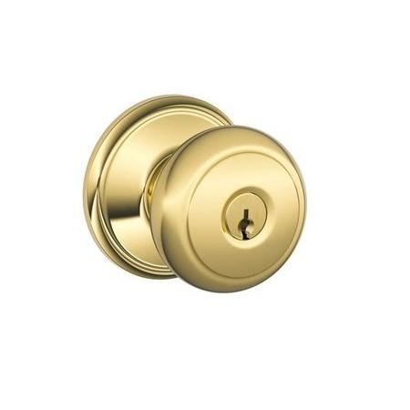 Schlage F80-AND-505 Storeroom Knob 505 Lifetime Bright Brass