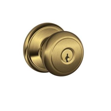 Schlage F80-AND-609 Storeroom Knob 609 Antique Brass