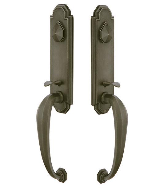 Emtek 474222 Octagon Monolithic Grip by Grip Handleset Medium Bronze Patina (MB)