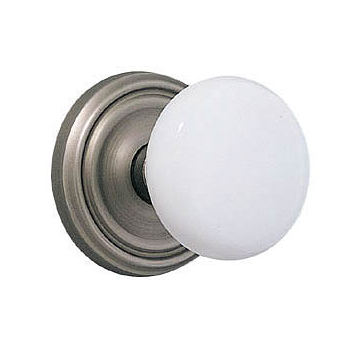Emtek Ice White Door Knob Set w/Regular Rosette in Pewter (US15A)
