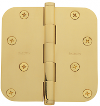 "Baldwin 1140 & 1440 Solid Brass 4"" x  4""  Radius Corner Hinge (single)"