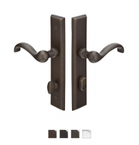 Emtek Door Configuration #1 SandCast Bronze RECTANGULAR Style Multi-Point Trim for Patio Doors