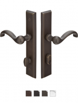 Emtek Door Configuration #6 SandCast Bronze RECTANGULAR Style Multi-Point Trim for Patio Doors