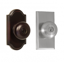 Weslock Elegance Collection Impresa Keyed Entry Door Knob Set with choice of decorative rose