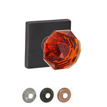 Fusion Decorative Collection Amber Crystal Glass Door Knob