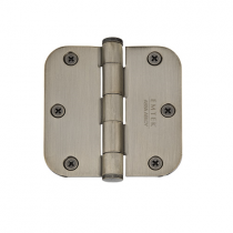 "Emtek 3-1/2"" x 3-1/2"" Plated Steel Radius Corner Residential Duty Hinges (Pair)"