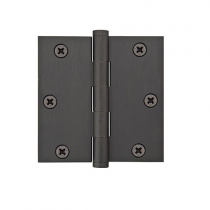 "Emtek 3-1/2"" x 3-1/2"" Plated Steel Square Corner Heavy Duty Hinges (Pair)"