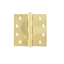 "Brass Accents 4 1/2"" x 4 1/2"" Square Corner Button Tip Brass Hinge"