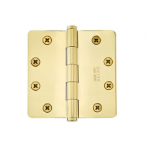 "Emtek 4-1/2"" x 4-1/2"" Solid Brass Radius Corner Heavy Duty Hinges (Pair)"
