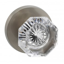 Omnia 955MD Glass Door Knob Set with Modern Rose from the Prodigy Collection