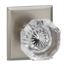 Omnia 955RT Glass Door Knob Set with Rectangular Rose from the Prodigy Collection